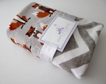 Nifty Fox in Steel Gray with Gray and Chevron Back Minky Blanket - Baby boy, Baby Shower, Nursery, Crib Bedding, Burnt Orange, White
