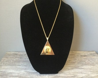ON SALE Vintage Egyptian Triangle Pendant Necklace, Lois Jane Celebrity New York