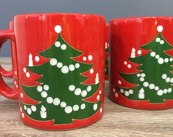 Waechtersbach Christmas Tree Mugs, Set of FOUR, Vintage Holiday Drinkware, Made in  Germany