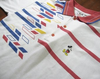 Vintage 1980s Micky Mouse Walt Disney polo shirt65 Polyester 35 Algodon 80s Oldshcool Shirt Women Ladies 16