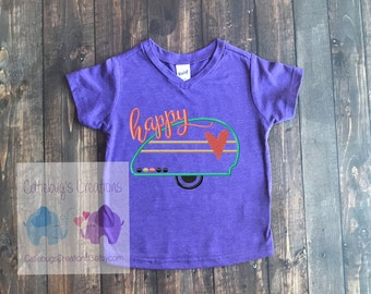 Happy Camper embroidered tshirt, camping shirt, rv shirt, camper shirt