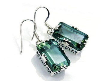 Incredible Color Change (Green To Purple) Alexandrite Earrings & Sterling Silver Dangle Earring Jewelry W944