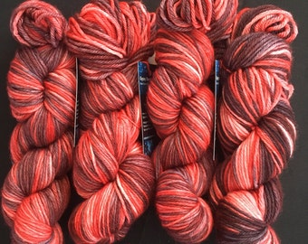 Hand Dyed Yarn, Worsted Weight Yarn, Poison Apple