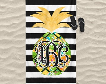 Personalized Beach Towel - Tropical Beach Towel - Personalized Towel - Personalized Gift - Monogrammed