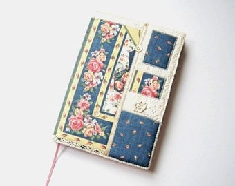 A5 Notebook, Sketchbook, Journal, Diary Cover, Floral Fabric Collage, Vintage Lace, OOAK, UK Seller