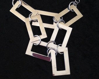 Stainless steel rectangle necklace