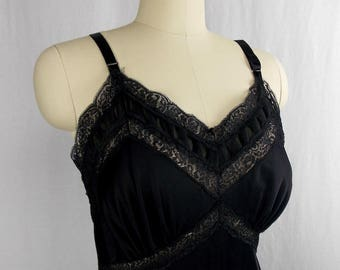 Vintage 1960's 2-Layer Black Slip with Lace and Ruffle Trim