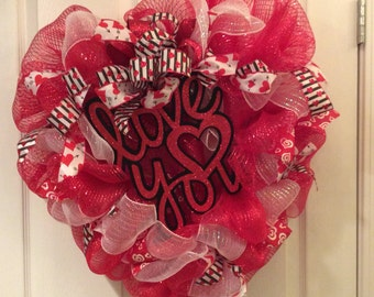 Valentine wreath, mesh valentine wreath, love wreath, love door hanger
