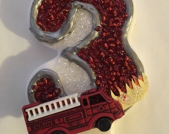 Firetruck birthday candles. Boy party candles. Fireman party.