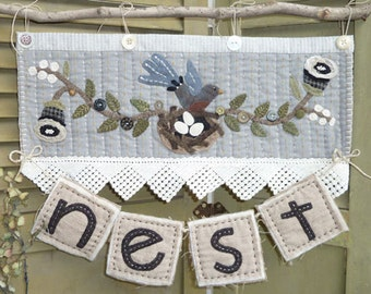 Pattern: N is for Nest Wool Applique Wall Hanging by Heart to Hand