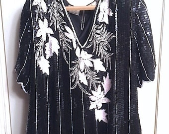 Vintage 80's Sequin, Bead & Pearl Embellished Black and White Pullover Blouse, Lined Silk Stenay Shell Top XL Made in India, Evening Wear
