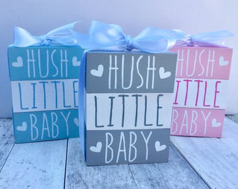 Hush Little Baby blocks nursery decoration baby gift baby shower new baby FREE P&P