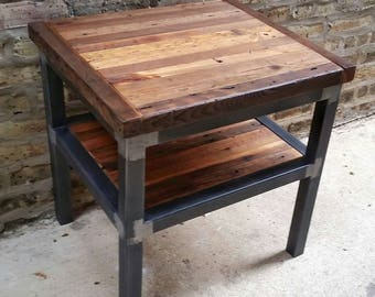 reclaimed wood and steel coffee table 46w x 24d x 18h