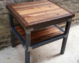 Reclaimed Wood And Steel Two Tier End Table