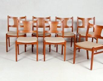 Seven chairs, denmark, vintage, teak, mid-century, 60s.