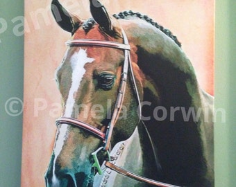 "Hunter Jumper horse portrait: dressage horse head print on canvas 16x20"" Thoroughbred horse painting art"