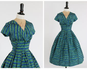 Vintage original 1950s 50s blue and green painterly stripe print dress by Swan and Edgar UK 10 US 6 S M