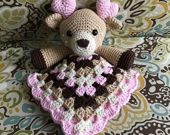 Crochet Deer Lovey (Amigurumi, Baby Shower, Blanket, Fawn, Gift, Handmade, Stuffed Animal, Toy)