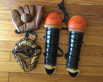 Vintage Baseball Catchers Gear
