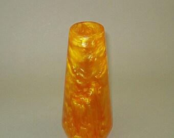 Vintage old gold lava flow Catalin Bakelite vase, bakelite vase, catalin vase with original label