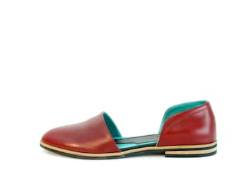 Women's Red Moccasin - Womens Leather Shoes - Womens Flat Shoes - Red Leather Shoes - Red Moccasins - Hand Made Moccasins
