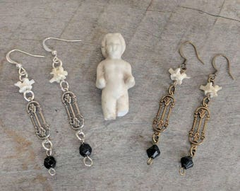 Art Nouveau Earrings with Rosary Beads and Rattlesnake Vertebrae Bones Taxidermy Silver Brass Bronze Goth Witch Gift Unique Oddities