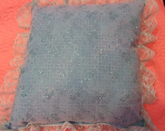 Pretty Princess Pillow with White and Aqua (without bow) Glitter Embellishments Great Gift 13x13