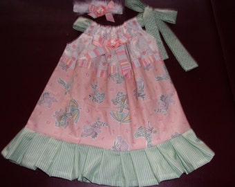 Girl's Pillowcase Style Dress Size 3T / 4T Giggles and Wiggles Bears with Bunnies and Matching Headband