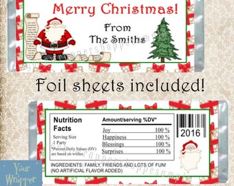 CHRISTMAS SANTA Party Candy Bar Wrappers with Foil Sheets Favors Custom Personalized