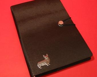 Corgi Dog Hand Cast Pewter Motif on A5 Black Journal Notebook Vet Father Mother Christmas Gift