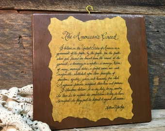 Vintage Wooden Plaque/The American's Creed/William Tyler Page