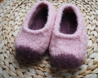 Sugar Plum Felted Eco Slippers w/suede soles