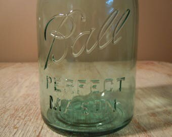 Vintage 1930s Blue Ball Perfect Mason Quart Jar | Antique Ball Jar No Underline Canning Jar |