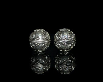 Two 15mm Sterling Silver Granulation Beads, Bali Beads, Sterling Silver Bali Beads, Beads, 15mm Bali Beads, Silver Beads Bali