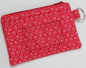 Red / White Heart / Valentine's / Love Keychain ID Wallet, Student / Teacher / Work ID, Badge Holder, Zip Pouch - 2 Options for ID Pocket