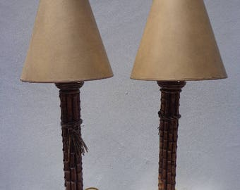 Pair of Lamps Table Light Faux Bamboo Vintage Asian Chinoiserie Decor Vintage Mid Century Hollywood Regency Palm Coastal Chic Tommy Bahama