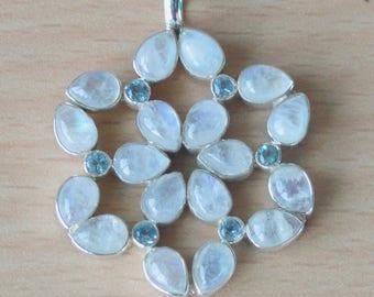 Moonstone & Blue Topaz Pendant,AAA Moonstone pendant,handmade Sterling SIlver Moonstone Pendants,Custom Silver Necklace Moonstone jewelry
