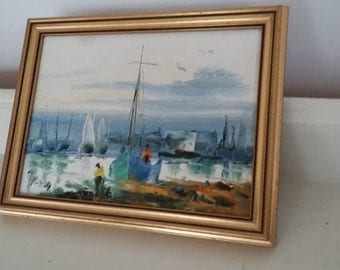 Oil Painting of Fishing Boats in Gilt Frame