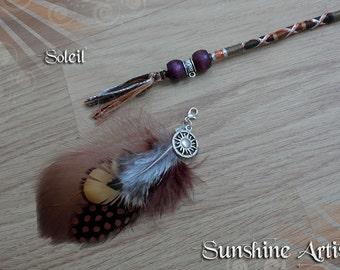 Sun charm hair wrap, SOLEIL hair braid, sun kissed, tan brown, khaki orange, wooden beads, brown feathers, festival accessory, clip in