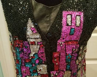 Vintage Beads and Sequins Colorful Vest