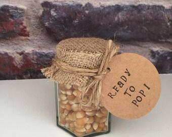 Baby shower popcorn jar favours - 'Ready to pop!'
