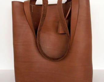 Brown Leather Tote Bag - Brown  Leather  -  Brown Leather Bag- Leather Tote- leather tote,Distressed leather tote,