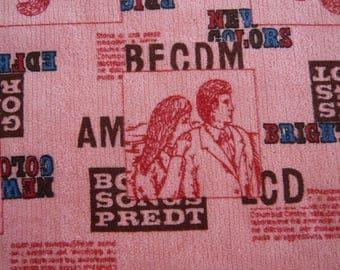 Vintage GROOVY printed velvet fabric