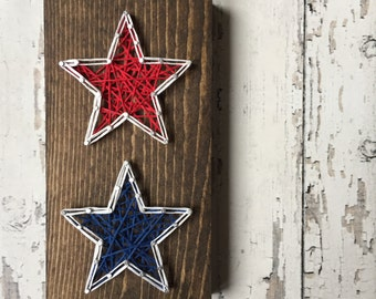 String Art Mini 4th of July Patriotic Stacked Star Sign