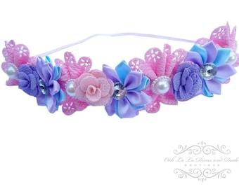 Flower Crown Headband/Flower Crown Headband/Flower Headband Wedding/Baby Girl Headband/Girl Headband Baby/Toddler Headband/Baby Rompe