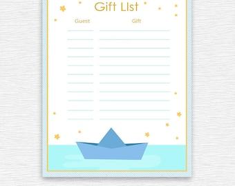 Baby Shower,Gift List ,printable digital giftlist-baby shower,party, Invitations,blue,baby shower printable, printables