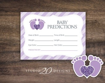 Instant Download Purple Footprint Prediction for Baby Cards, Printable Baby Girl Feet Predictions, Baby Feet Baby Shower Games 75B