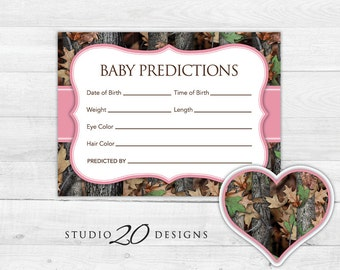 Instant Download Pink Camo Prediction for Baby Cards, Printable Baby Girl Camo Predictions, Realistic Hunters Camo Baby Shower Games 31D