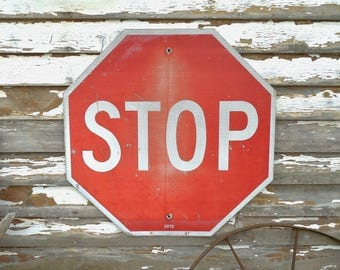Large Metal Stop Sign Reflective 30x30 Vintage 1980s Traffic Sign Industrial Metal Wall Sign