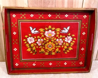 Vintage Hand Made Hand Painted Red FloralWooden Tray